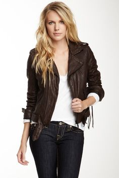 True Religion Lace-Up Leather Biker Jacket