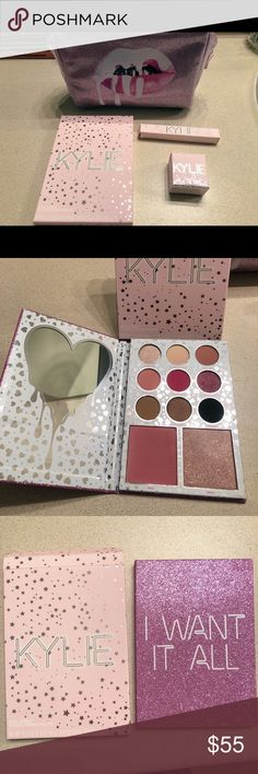 Kylie Jenner makeup AUTHENTIC I Want It All eyes and face palette - $20 Highlight in Queen - $15 Lipgloss in Cherry Pie - $10 Birthday makeup bag only - $15 Everything- $55!  ALL NEW with seals still on. ALL ORIGINAL. Purchased from her website. Message me if want individual items Kylie Cosmetics Makeup