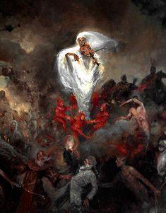 Requiem by Ignacio Trelis (detail) Arte Horror, Horror Art, Dark Fantasy Art, Dark Art, Art Sombre, Arte Van Gogh, Arte Obscura, Old Paintings, Classical Art