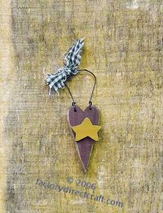 pictures primitive easter crafts   Primitive Wood Heart with Star Ornament - Valentine's Day - Holiday ...