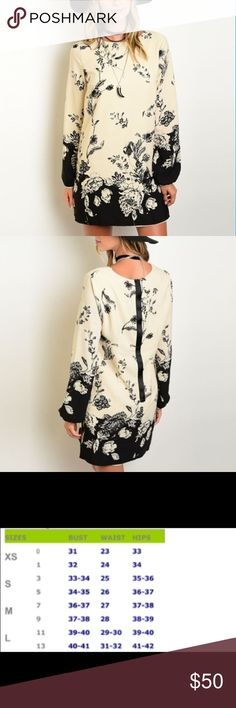 Beautiful Taupe & Black Shift Dress Amazing floral theme shift dress in taupe & black. Very on trend.  Material:  100% polyester.  Price is firm unless bundled.   Shop The Trends Dresses