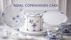 Royal Copenhagen, Cake Decorating Tutorials, Cookie Decorating, Royal Blue Cake, Korea Cake, Single Tier Cake, Caramel, Blue Cakes, Dessert Decoration