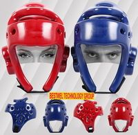 Hot Sale MMA Karate Muay Thai Kick Training Helmet Boxing Head Guard Protector Headgear Sanda Taekwondo Protection Gear Red Blue