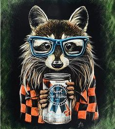 Hipster-raccoon-scratchboard-print | Creative Scratchings on Scoutmob Shoppe