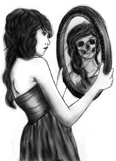 """Who We Are""- an original by Alexa Cavas  #mirror #girl #skull #reflection"