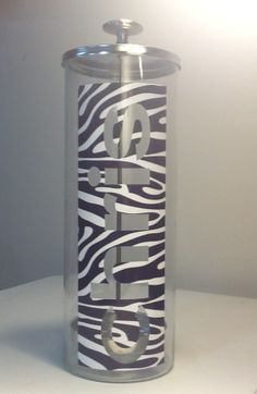 Zebra Name Cutout Sanitation Jar