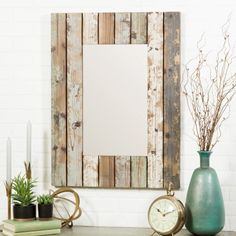 Love his farmhouse mirror and all the decor around it! Aspire Home Accents Torres Farmhouse Wall Mirror Rustic Wall Mirrors, Farmhouse Decor, Farmhouse Wall Mirrors, Wall Mirror With Shelf, Mirror Design Wall, Country Farmhouse Decor, Large Wall Mirror, Mirror Wall Bedroom, Mirror Wall
