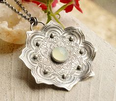 Silver Lotus Pendant Necklace with Etched Pattern Silver Ball Accents and Bezel Set Aqua Chalcedony in a Modern Rustic Style, Yogi Gift Witch Jewelry, Clay Jewelry, Metal Jewelry, Pendant Jewelry, Silver Jewelry, Pendant Necklace, Bullet Jewelry, Dangle Earrings, Jewelry Necklaces