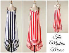 Striped Hi-Low Maxi Dress