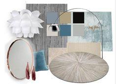 Painel de conceito (Moodboard) para sala de estar. Azul romântico.