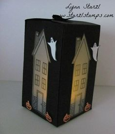 Lynn made her fun Halloween tea light box with Holiday Home & its framelits and the Gift Box Punch Board. All supplies from Stampin' Up!