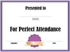 Perfect Attendance Award Certificates | School Certificates ...