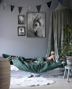 The most calming bedroom in gorgeous shades of grey & green: A stylish colour combo for boys or girls - Petit & Small Bedroom Green, Baby Bedroom, Girls Bedroom, Bedroom Decor, Canopy Bedroom, Childrens Bedroom, Bedroom Furniture, Green Kids Rooms, Kids Room Design