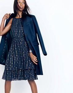 J.Crew women's Regent topcoat and metallic textured dot dress.