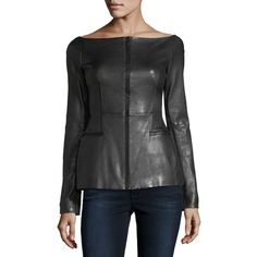 Shop Off-the-Shoulder Long-Sleeve Fitted Leather Jacket from Theory at Neiman Marcus Last Call, where you'll save as much as on designer fashions. Leather Jackets Online, Best Leather Jackets, Fringe Leather Jacket, Jackets For Women, Clothes For Women, Fashion Sale, Women's Fashion, Off The Shoulder, Lamb Shoulder