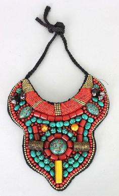 Nepal Ceremonial Turquoise & Coral Necklace