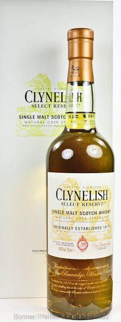 Clynelish Whisky Select Reserve 2014 Region : Highland nur eine Flasche 54,9 % alc./vol. 0,7l mit Farbstoff Fassart : Amerikanische first-fill, refill, junge Eichenfässer, europäische Refill und Bodega-Fässer Nase : Etwas Zimt, Orange, Obst, leichte Süße Geschmack : Orange, schöne Süße, Zitrusfrüchte mit Geschmack nach Holzfässern Finish : Langer Abgang, weich und wärmend Abfüller : Original, Special Release 2014 Flaschenanzahl .: 2964 Flaschennr.: 0586