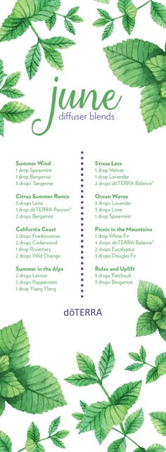 Happy 1st day of June! Here are 8 diffuser blends to try out this month.