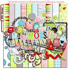 "Everyday Mom Ideas: ""Lil' Monster"" (Free Digital Scrapbooking Kit)!"