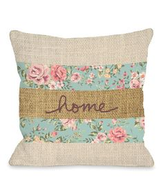 One Bella Casa Home Floral Burlap Fleece Throw Pillow Burlap Throw Pillows, Cute Pillows, Sewing Pillows, Floral Throw Pillows, Outdoor Throw Pillows, Throw Pillow Covers, Decorative Pillows, Recover Pillows, Applique Pillows