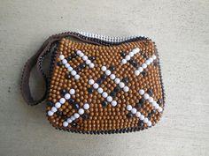 Vintage BEADED handBAG /  plastic beaded purse by RelevantObjects