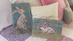 Water color bunny pallet signs