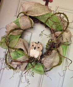 Burlap Owl Wreath by TheGoodWreath on Etsy