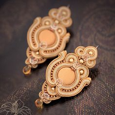 Soutache earrings Caramel | author: Zuzana Hampelova Valesova (Lillian Bann) | www.z-art-eshop.cz | http://www.facebook.com/pages/Z-ART/539656212733510