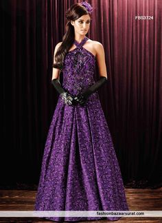 Purple Silk Peppy Evening Designer Gown