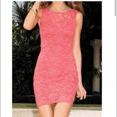 Sleeveless Bodycon Lace Dress fits small - medium Coral color lace bodycon short dress. Dresses