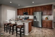 New Homes in Surprise, AZ - Villas at Sycamore Farms Plan 1551 Kitchen Sycamore Farms, Log Home Kitchens, Arizona, Kitchen Decor, Kitchen Design, Farm Plans, Kb Homes, Phoenix Homes, Brown Kitchens