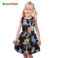 Fashion Summer Kids costume Cute Colorful cartoon Owl Party Princess Dresses Children Sleeveless Clothes Girls Print Tutu Dress