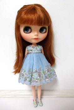 Light Blue Vintage Handkerchief Blythe Doll Dress