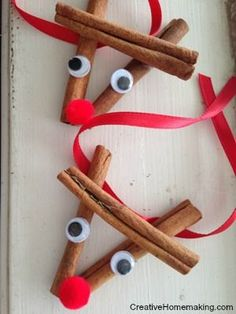 These cinnamon stick reindeer ornaments are easy to make and give as gift for the holidays.