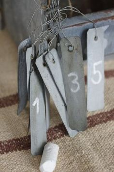 tin tags and numbers