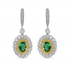 Vivid Green Emerald and Fancy Intense Yellow Diamond Drop Earrings, SKU 3083R (1.42Ct TW)
