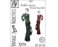 1930's Chiffon blouse and evening skirt B38 PDF | Etsy