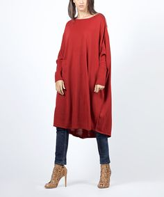 Another great find on #zulily! Scarlett Bordeaux Midi Cape-Sleeve Tunic - Women by Scarlett #zulilyfinds