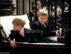 Prince William and Prince Harry at Trooping of the Colour ceremony London UK in JUne 1989 Stock Photo