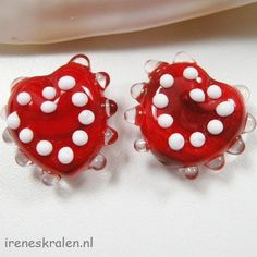 Lampwork Beads set of 2 red & white hearts homemade by IrenesBeads, €5.00