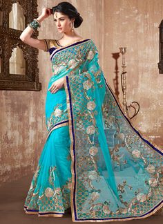 Blue Net Designer Saree  www.ethnicoutfits.com Product Code : (4812) Email : support@ethnicoutfits.com What's app : +918141377746 Call : +918140714515