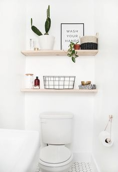 DIY Bathroom Shelves Back with the last DIY project from our modern vintage bathroom. I wanted some simple shelves above our toilet since this is. Modern Vintage Bathroom, Modern Bathroom Decor, Simple Bathroom, Master Bathroom, Modern Decor, White Bathroom, Bathroom Ideas, Bathroom Renovations, Parisian Bathroom