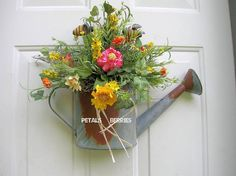 Country Rustic floral Watering Can Door by sandys4899florals, $36.99
