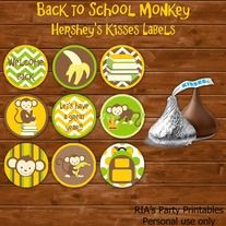 """Back to School Monkey – HERSHEY'S KISSES LABELS ------------------------------------------------------ WHAT'S INCLUDED WITH PURCHASE ------------------------------------------------------ PDF file with  - 99 labels on an 11"""" x 8.5"""" sheet. You just print on sticker paper and punch out with a..."""