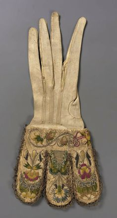 Early 17th century, England - Glove - Leather, Silk; embroidery