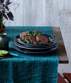 Australian Gourmet Traveller recipe for cured beef fillet with herb crust