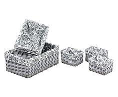 Set di 5 cestini in rattan e lino Bintu grigio/bianco, max 50x20x33 cm