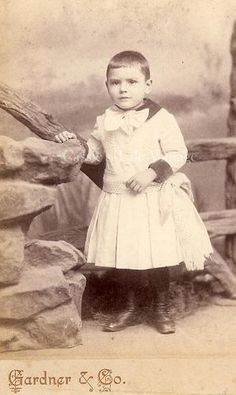 Antique Cabinet Card Photo - Little Boy in a Dress, Big Bow, & Button Boots - Brooklyn NY 1800s