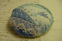 herminehesse:  Patchwork pin cushion - CD as a base