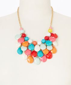 Take a look at the Rainbow Teardrop Cluster Bib Necklace on #zulily today!